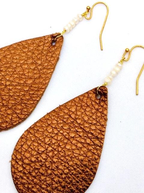 Brea Bronze Boho Leaf 14K Earring