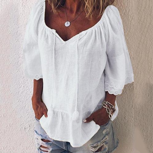 Baile Boho Lace Sleeve Tunic-Med
