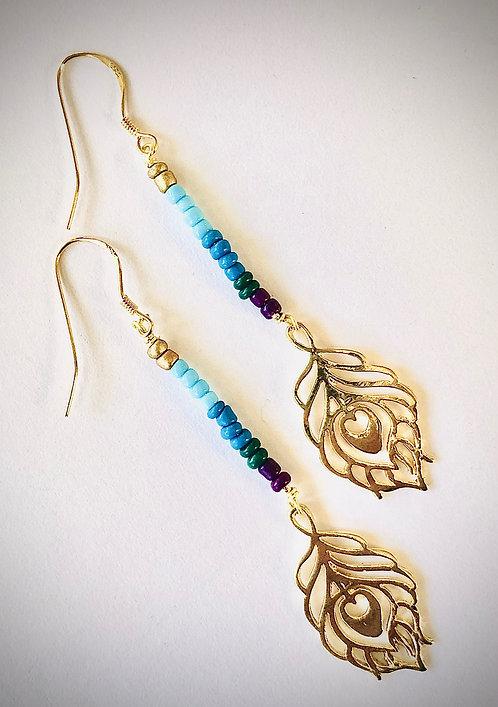 Peacock Blue 14K Gold Earrings