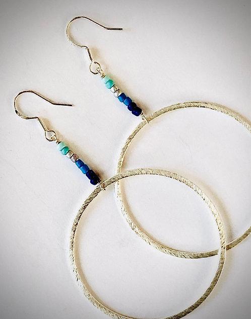 Laguna Blue Sterling Silver Hoop Earrings