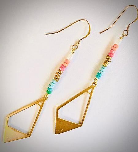 Gold Boho Diamond Beaded Earring