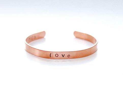 Hand Stamped Skinny Copper Bracelet Cuff