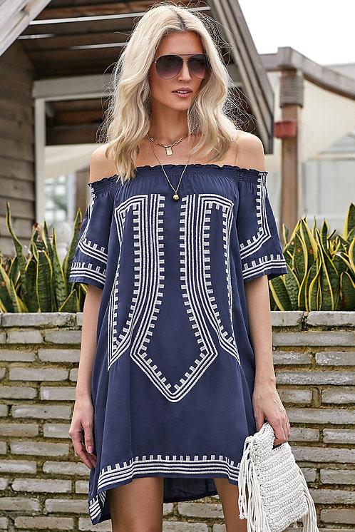 Caprice Bohemian Vibe Off The Shoulder Beach Dress