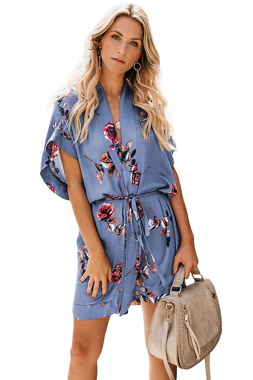Sky Blue Chrysanthemum Kimono Dress