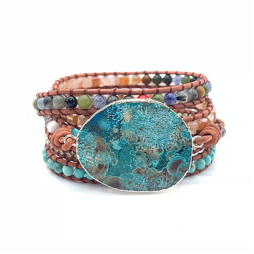 NEW Trina Turquoise Leather Wrap Boho Bracelet
