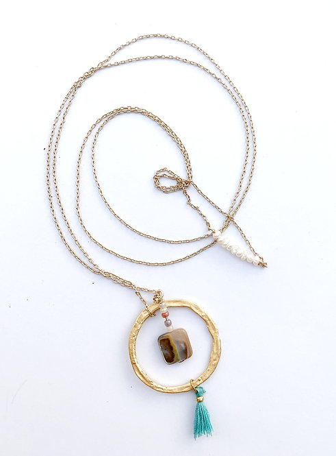Poa Tassle 14K with Natural Abalone Charm Lariat