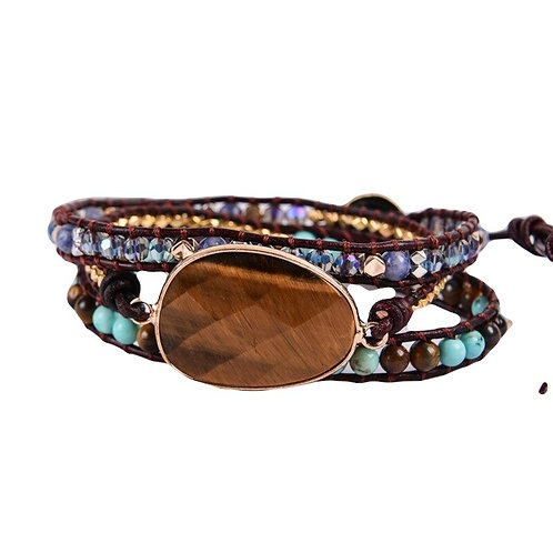 NEW Tiger Eye Natural Leather Wrap Bracelet