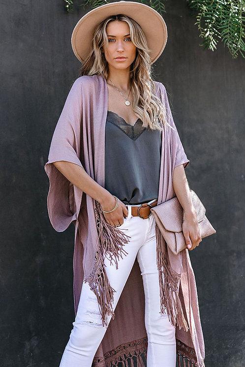 Malu Dusty Pink Hi-Low Kimono