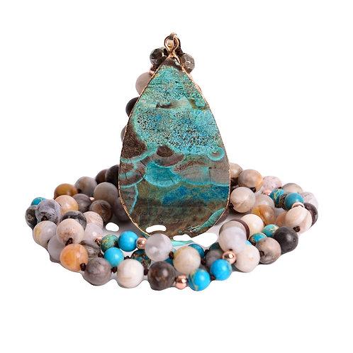 Serena Handmade Boho Mix Natural Stones Teardrop Pendant