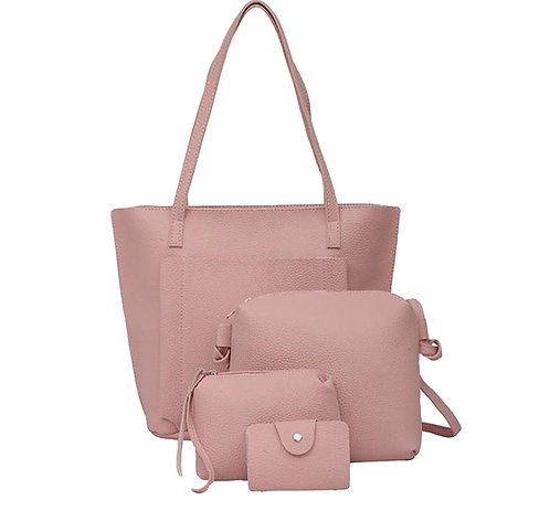 Lena 4pcs Vegan Leather Tote and Handbag Set