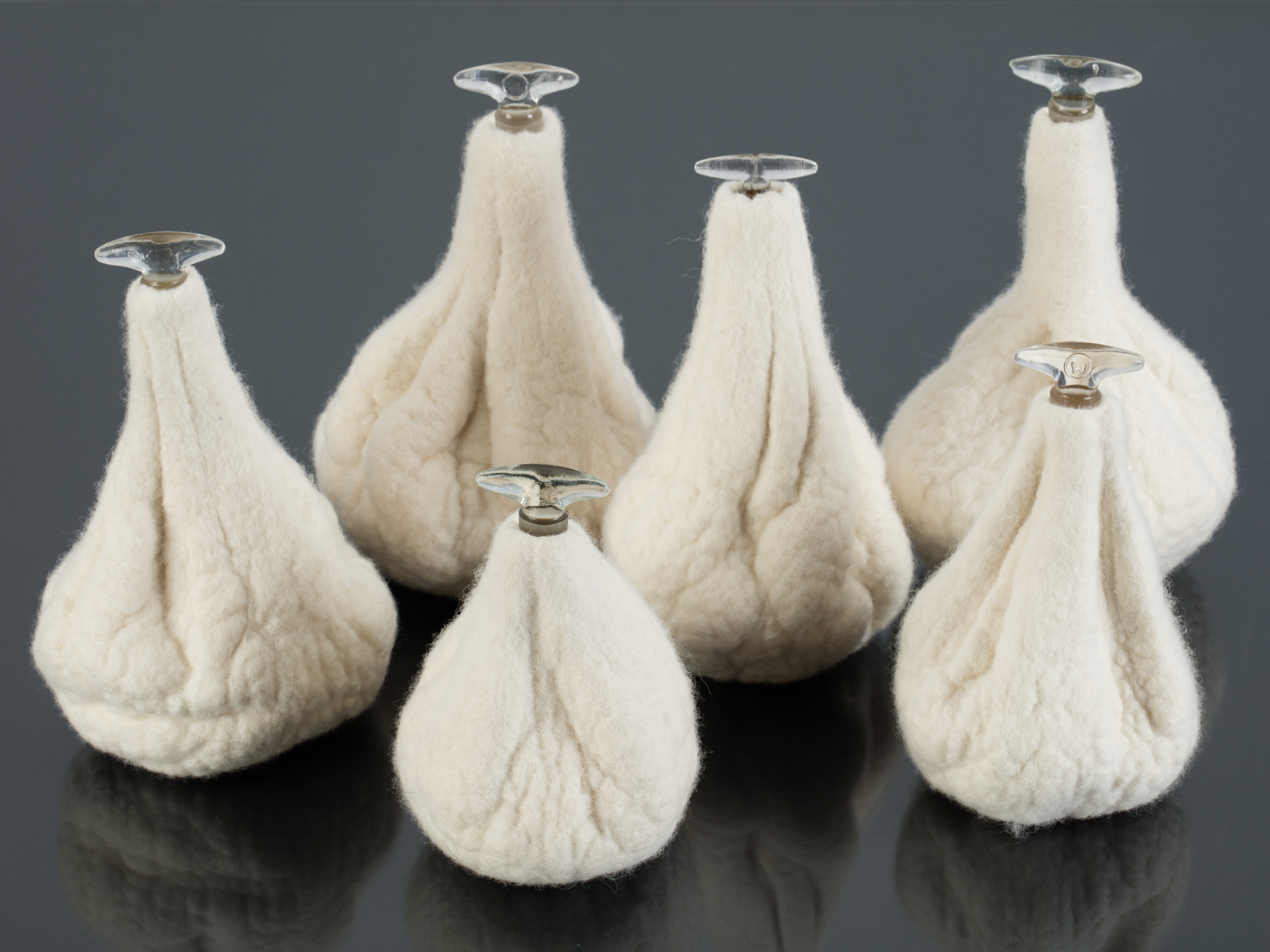 Felt bottles with glass stoppers