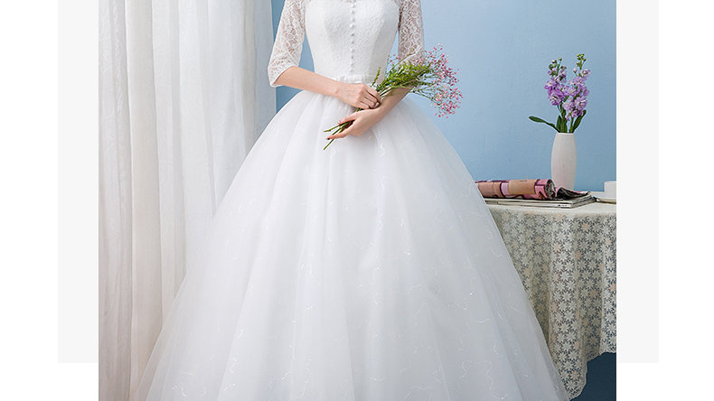Wedding Dress Mid Sleeve Lace and Chiffon Princess Gown