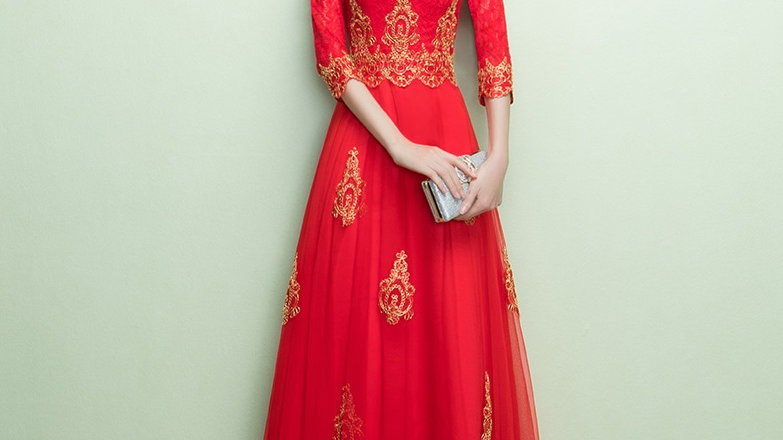 Winter Series Lace Red Traditional Chinese Wedding Dress
