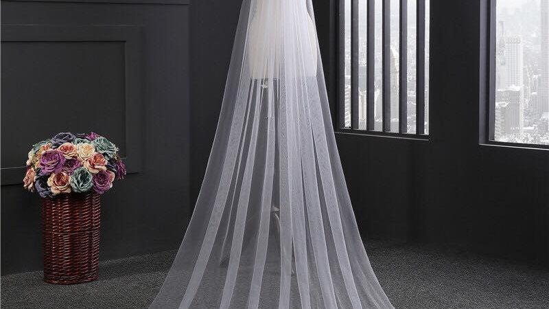 Veil Seven-3m Single Layer White Lace Veil