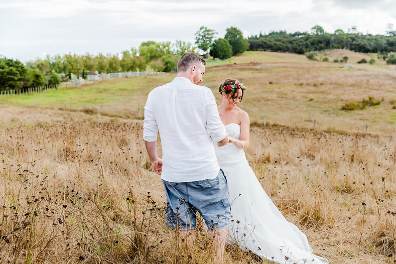 Romantic Country Style Dirty boots and messy hair Flower crown Long Grass Backyard Wedding 29th February