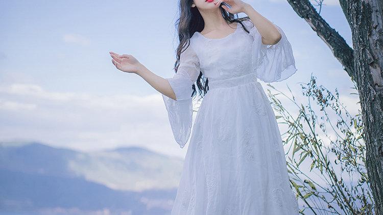 Angel White Long Chiffon Dress