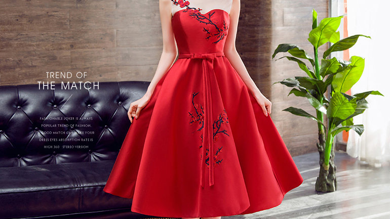 Bride's Red Cocktail Dress