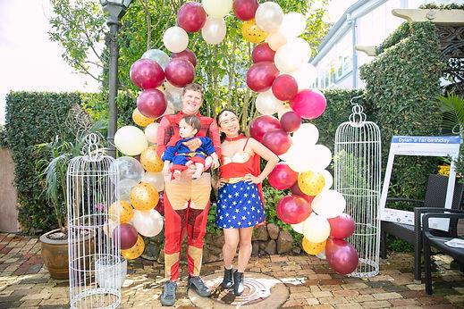 One Year Birthday Party Themed Dress-up Party Balloon Garland Iron Man Superman Wonderwoman