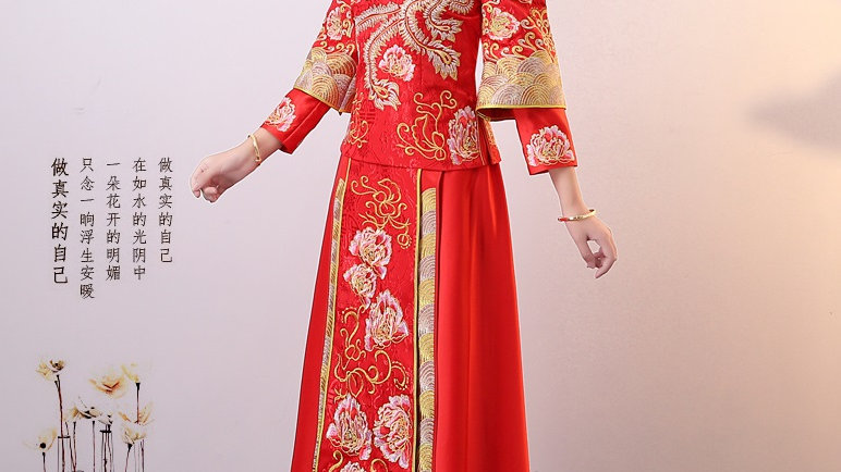 Chinese Traditional Red Cloak and Dress