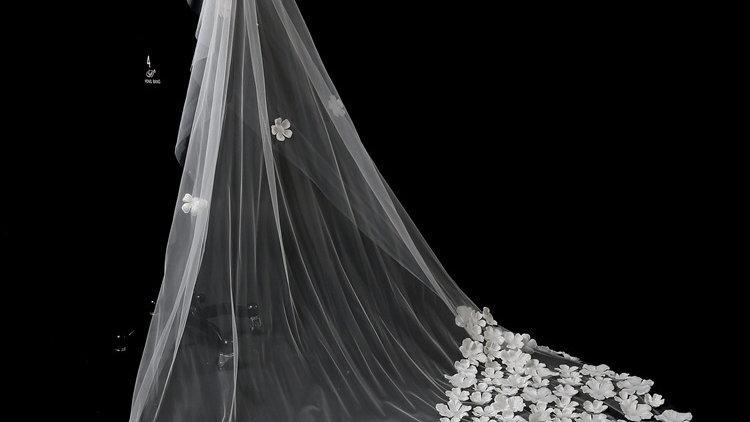 Veil Two-Floral 3m Dragging White Veil