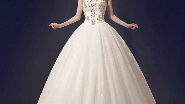 Bridal Retro Strapless Rhinestone Crystal Wedding Gown