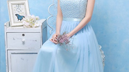 Baby Blue Halter Neck Two Way Bridesmaid Dress