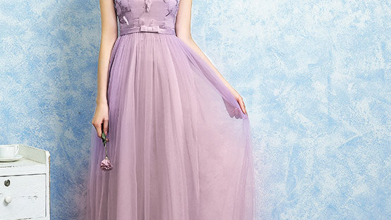 Red Bean Lace Gauze Chiffon Evening Gown