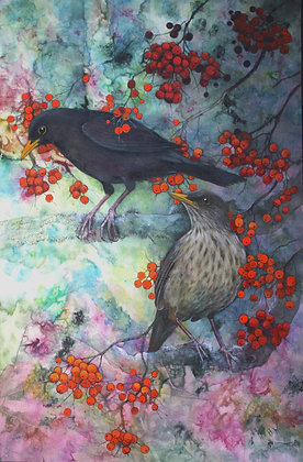 'Pair of blackbirds' by Helen Welsh