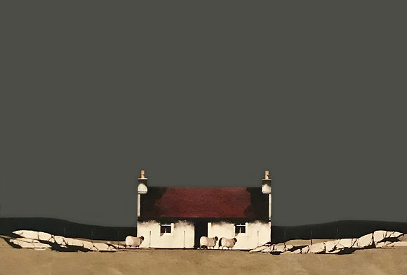 'Red Roofed Cottage Barra' by Ron Lawson