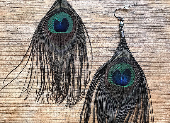 Strut Your Stuff Peacock Feather Earrings