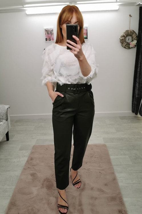 POWER Faux Leather Belted Trousers