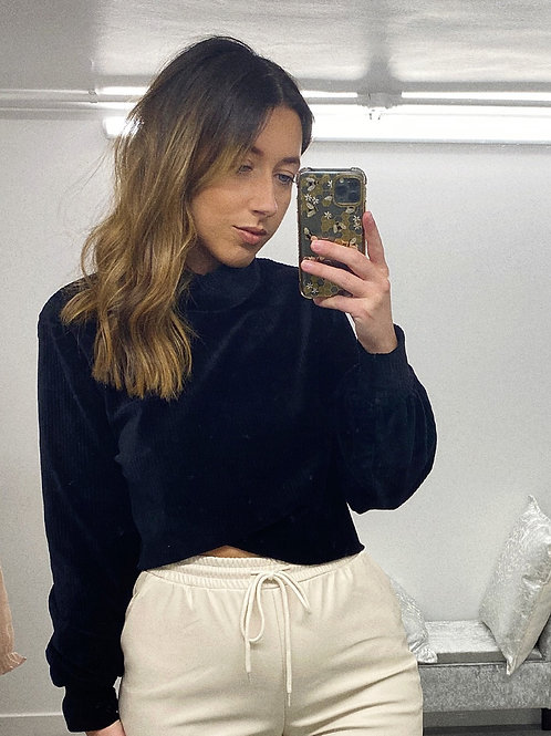 SOFTLY DOES IT Velour Ribbed Crop Jumper