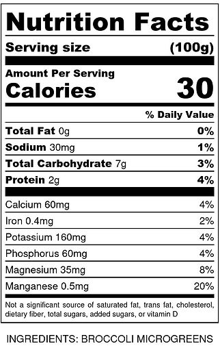 Organic Broccoli Microgreens - Nutrition