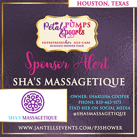 Sha's Massagetique Sponsor announcement.