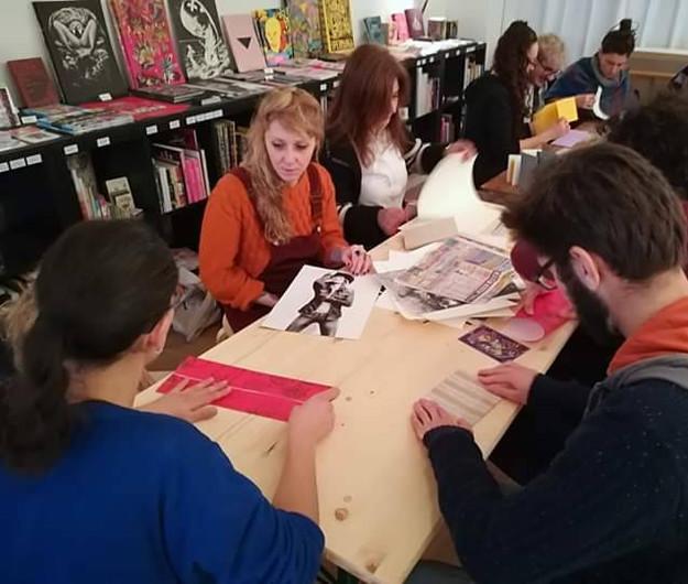 Workshop de reliure avec la galerie E2
