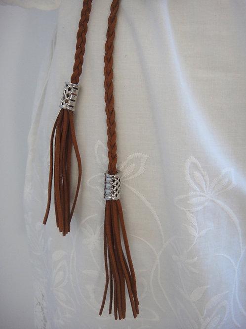 Plaited Tassel Belt - Brown