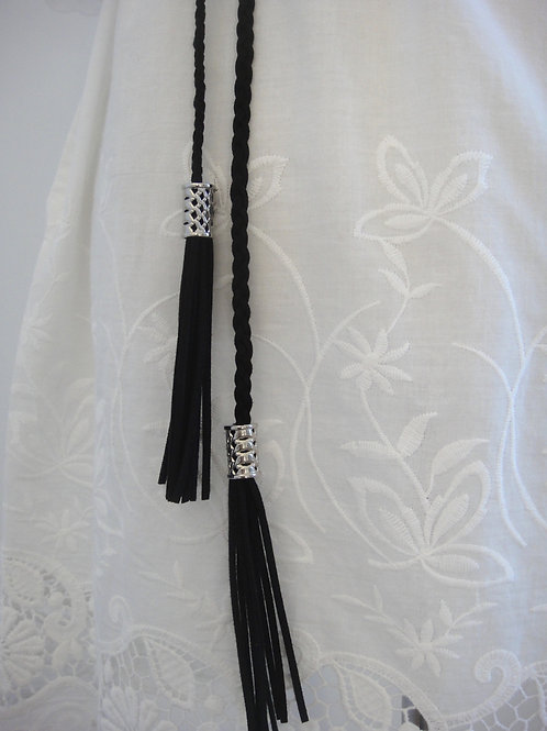 Plaited Tassel Belt - Black