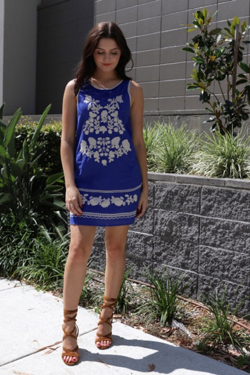 Embroidered Tunic Dress - Blue