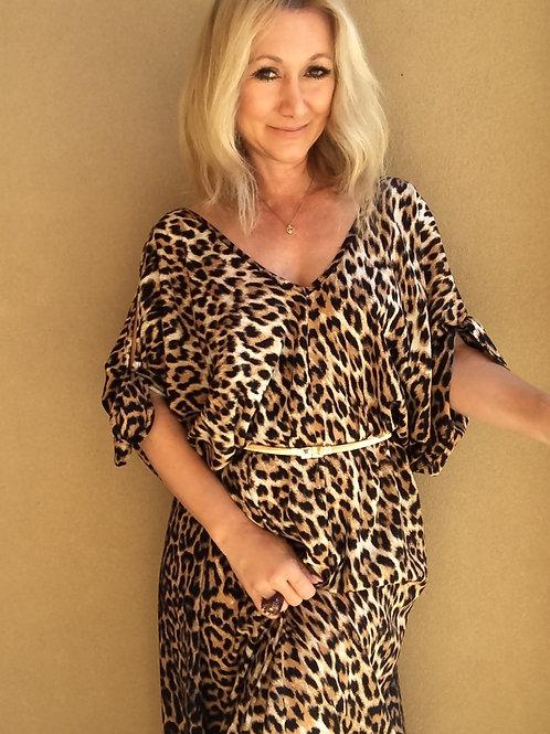 Leopard Kaftan Maxi - Brown