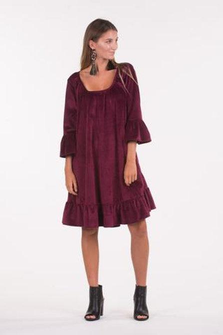 Berry Velvet Frill Dress