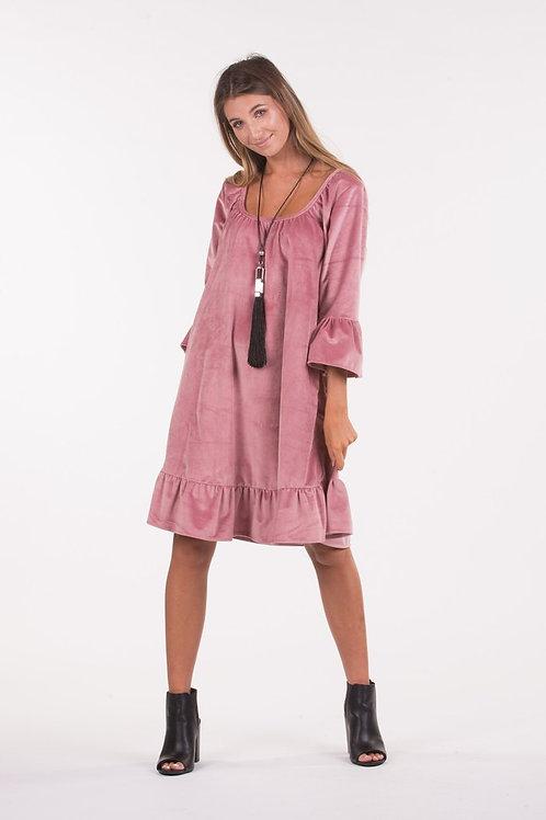 Blush Velvet Frill Dress