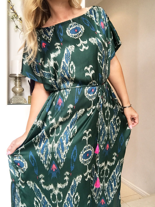 Emerald Silky Shift Dress