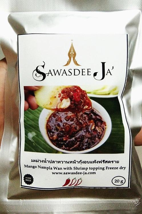Mango Nampla-Wan with Shrimp topping freeze dry