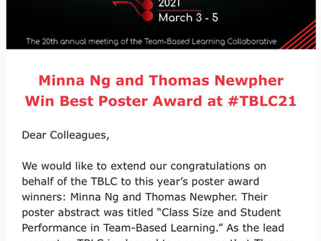 Professors Minna Ng and Thomas Newpher Win Best Poster Award at The 20th Annual TBLC Meeting!