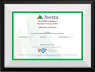 Highway Fencing Ltd Avetta Certificate