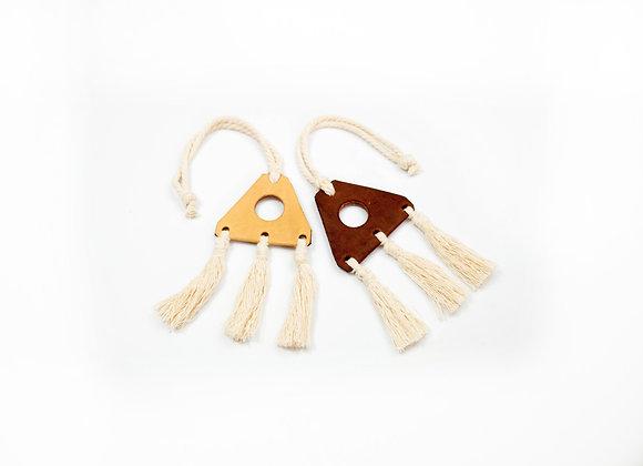Leather & Macrame Triple Tassel