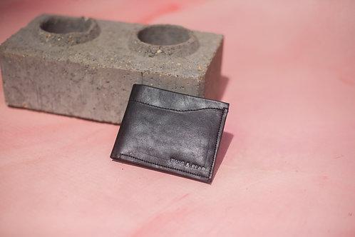 Minimal bi-fold wallet in classic black