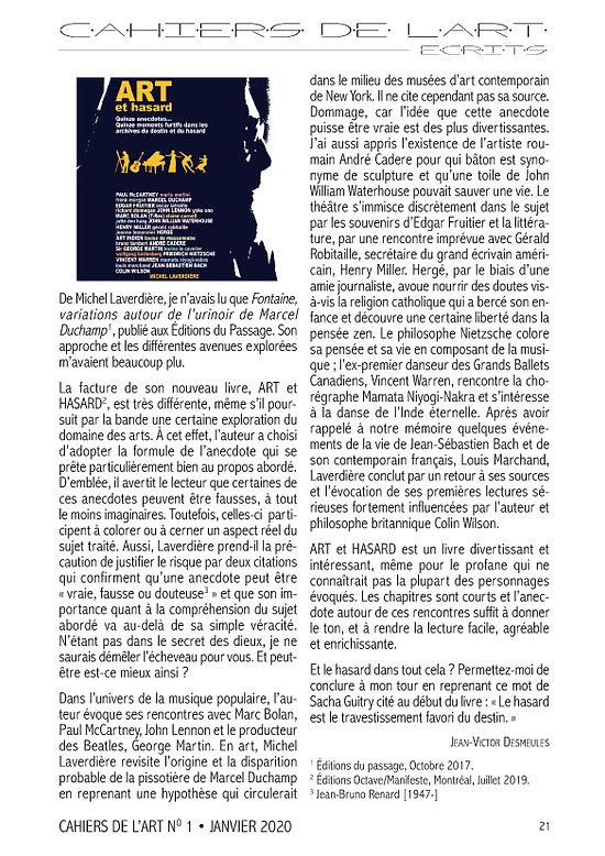Cahiers de l'art - Janvier 2020 Page 21.