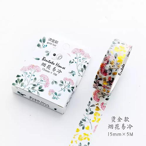 Washi mini flores con hojas.