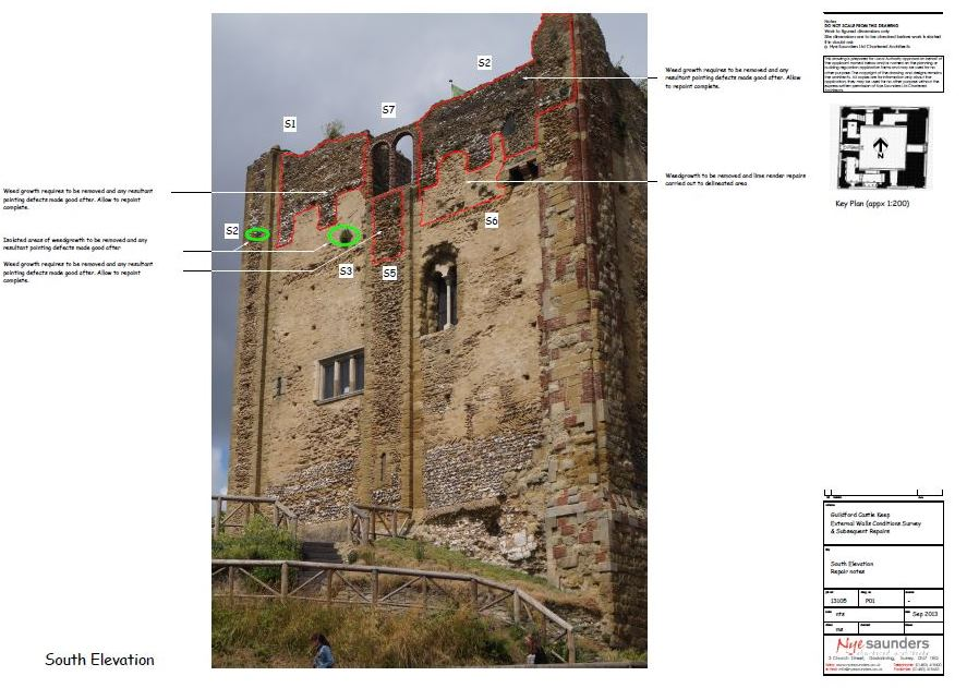South elevation - repair notes drawing